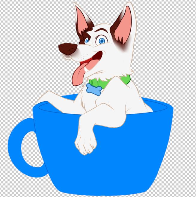 Puppy in a Cup by Melanie Duquesne via ArtCorgi