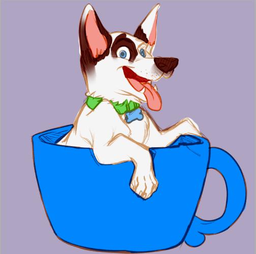Second Mug Puppy WIP by Melanie Duquesne
