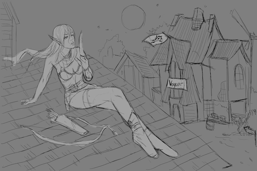 Sketch of the Blood Elf on the Roof by PhuThieu