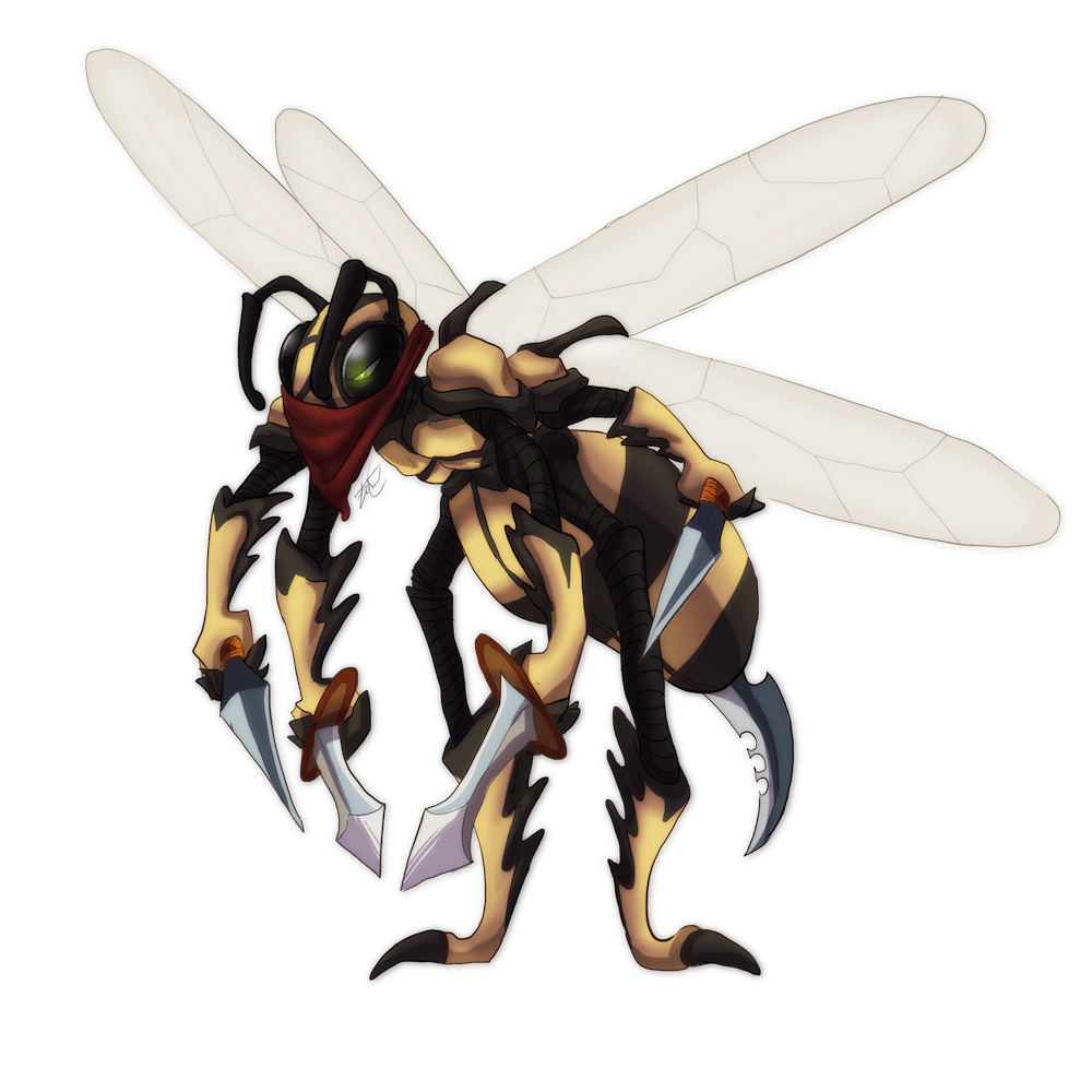 Standing Wildefolk Wasp Character Illustration by Denitsa Trandeva via ArtCorgi