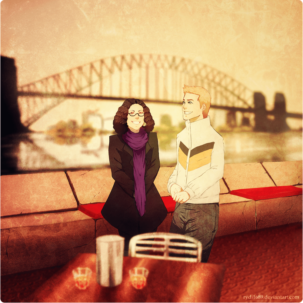 The Couple in Sydney Harbor by Lucia Garcia via ArtCorgi