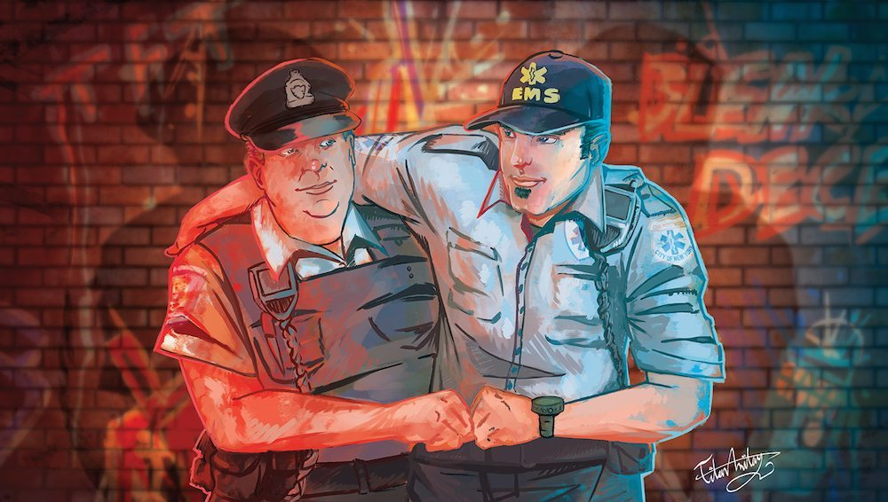 The Paramedic and the Police Officer by Omniopticon via ArtCorgi