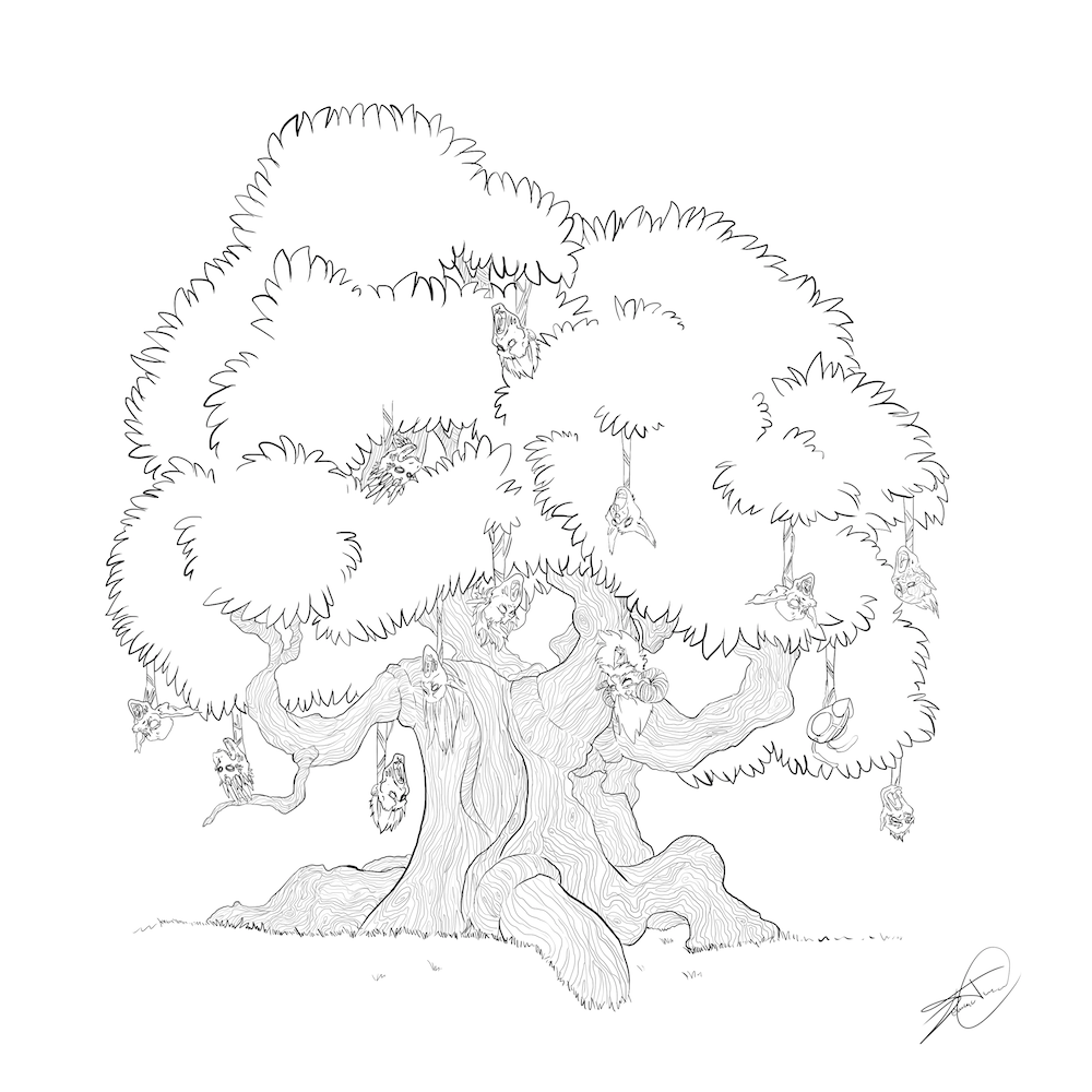 The Witch Tree by Denitsa Trandeva via ArtCorgi - Lineart