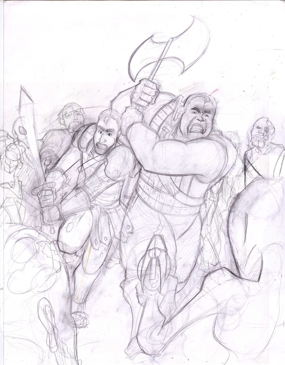 WIP Sketch of Brothers vs Zombies and Aliens by Silvadoray