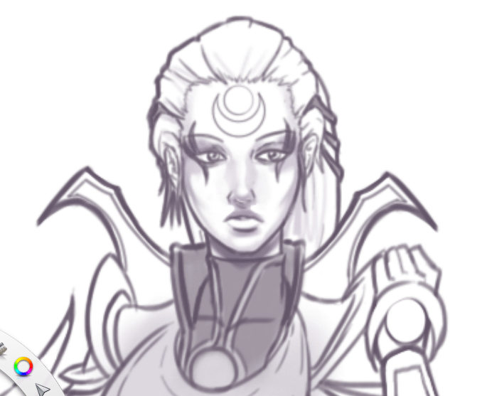 WIP Sketch of Diana Face by Knifoon
