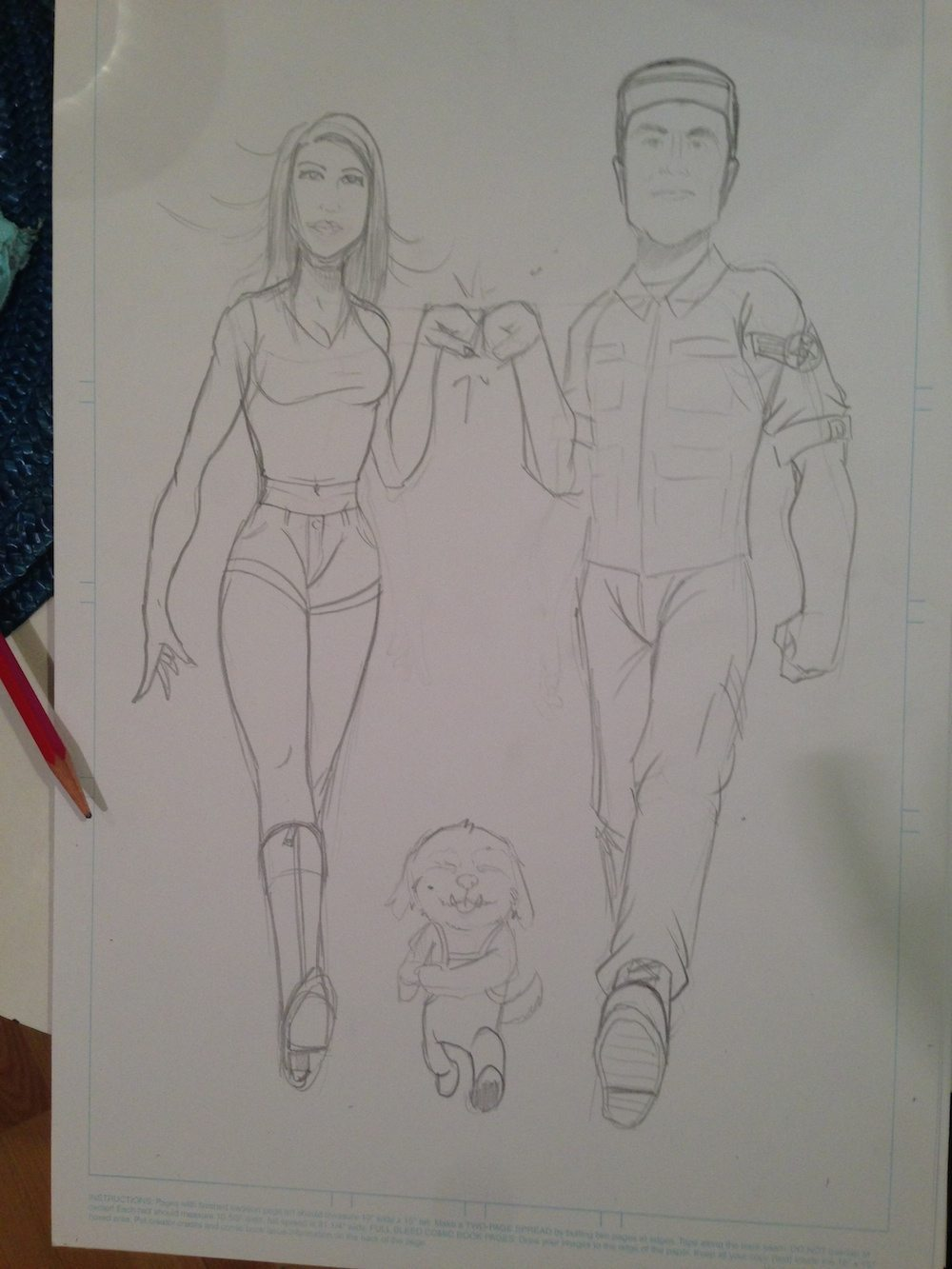 WIP Sketch of Fist Bumping Couple by Clay Graham