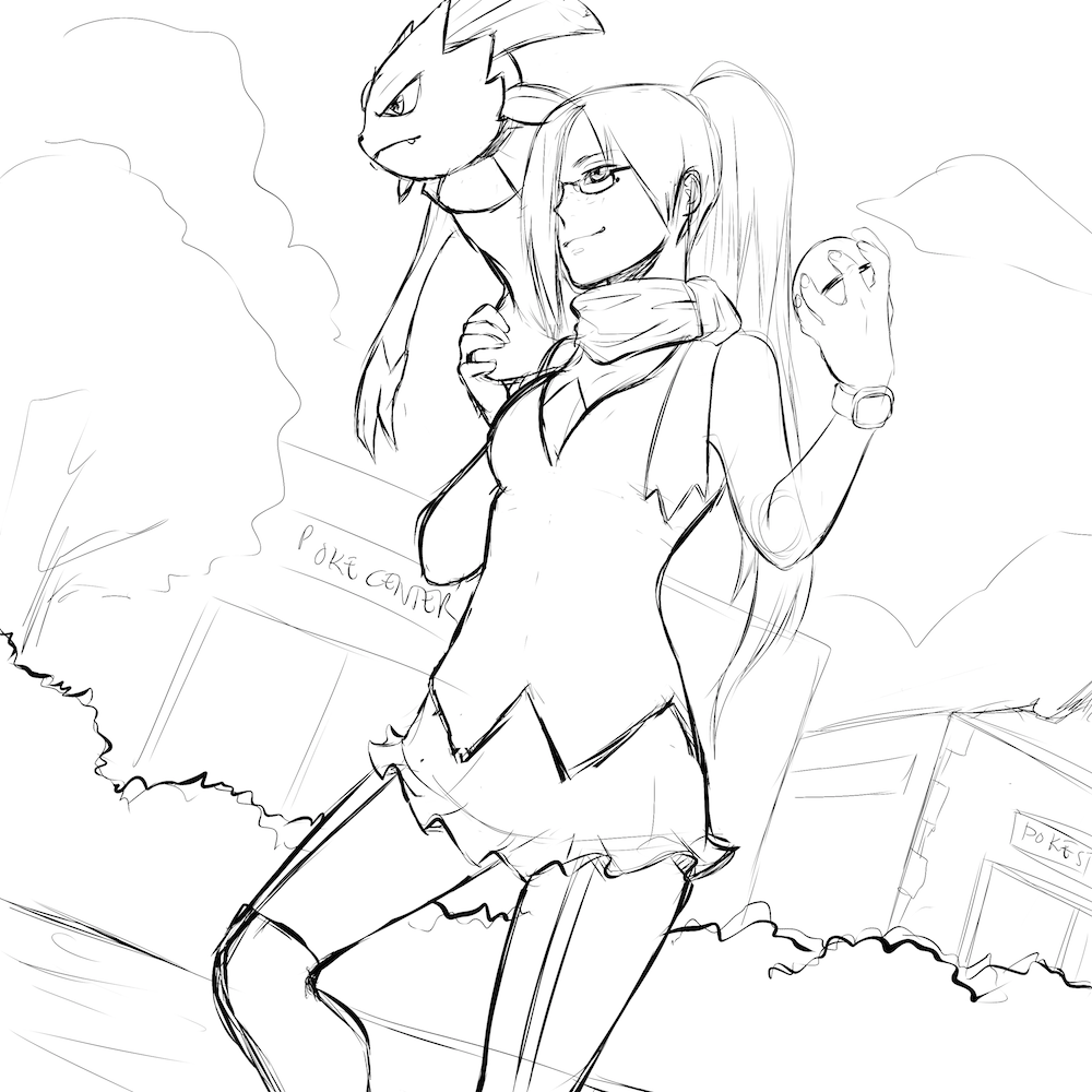 WIP of The Pokemon Trainer and Her Weavile by Lucia Garcia Lines