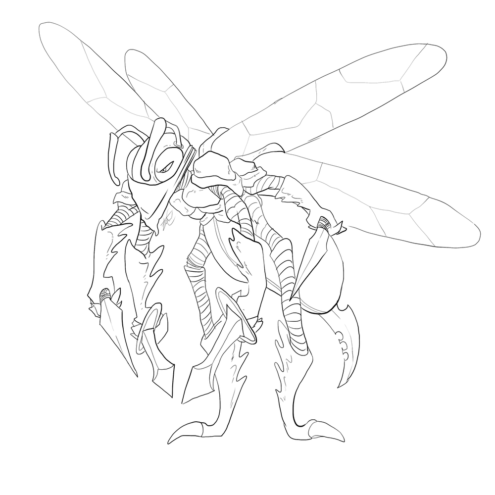 Wildefolk Wasp Lineart by Denitsa Trandeva via ArtCorgi