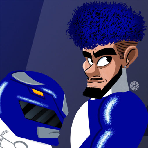 ArtCorgi - Bold digital portraits by Seni Oyewole featuring power ranger blue