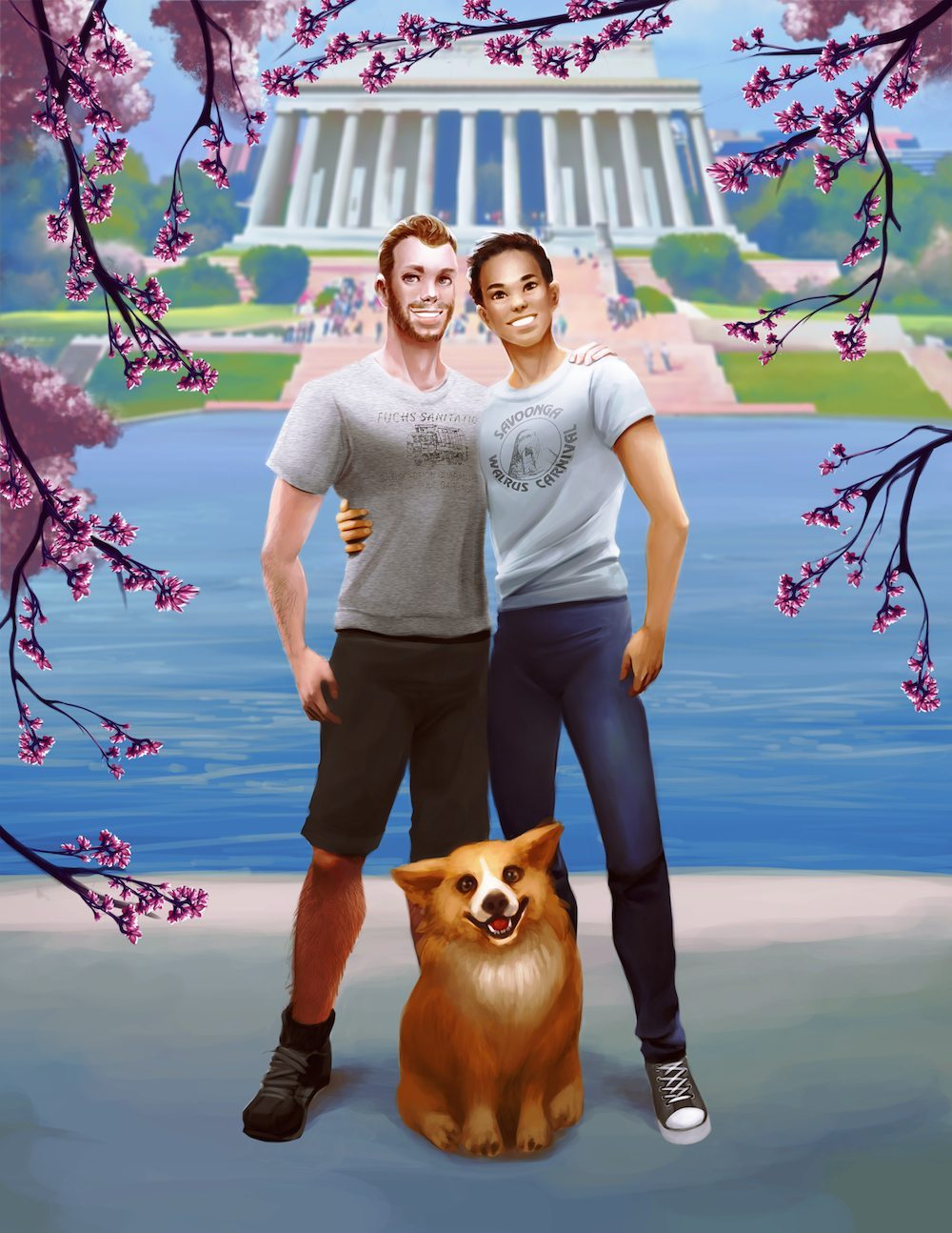 Cartoon Portrait of Michael Ben and Toby in DC by Nell Fallcard via ArtCorgi