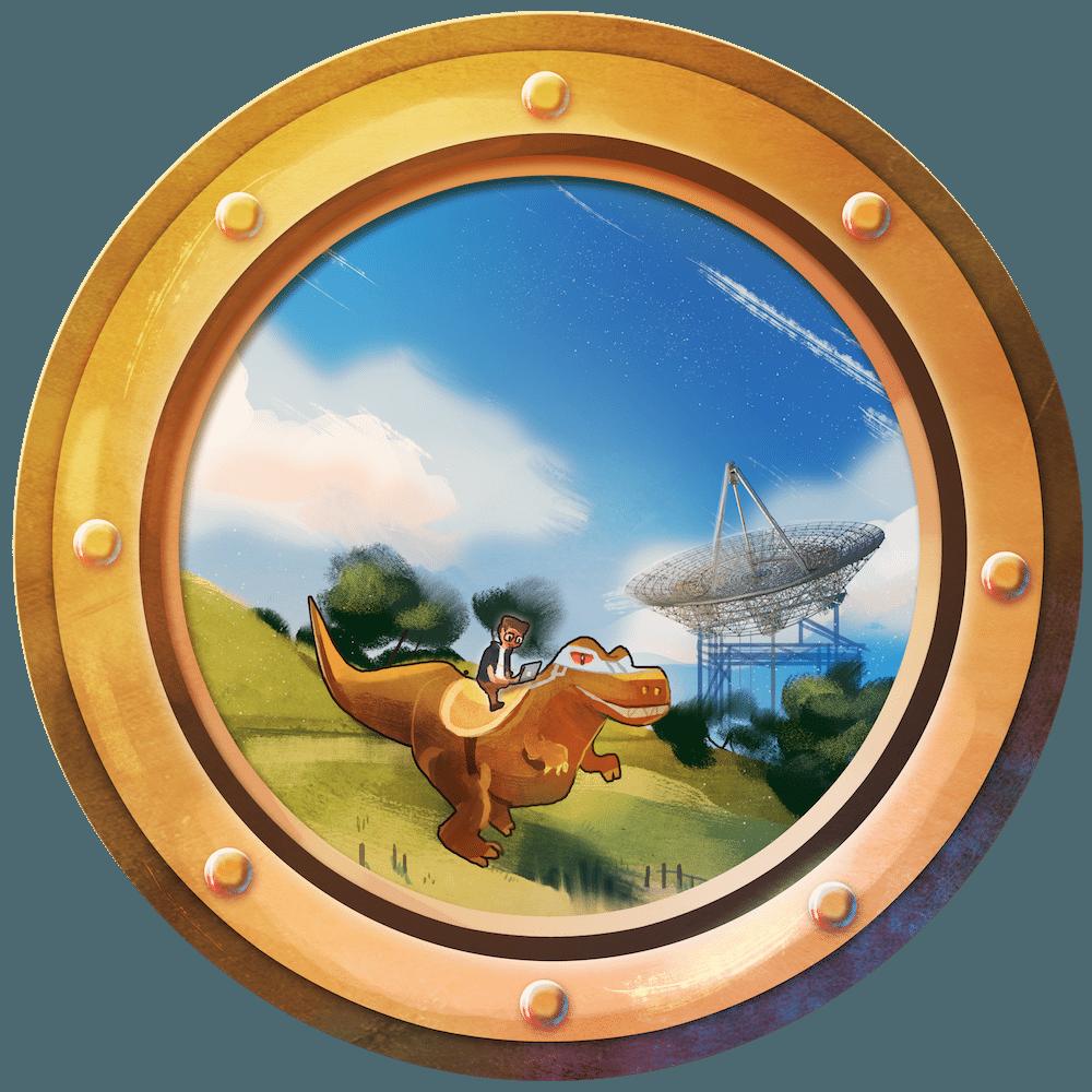 Dino by the Dish Porthole by Louie Zong via ArtCorgi