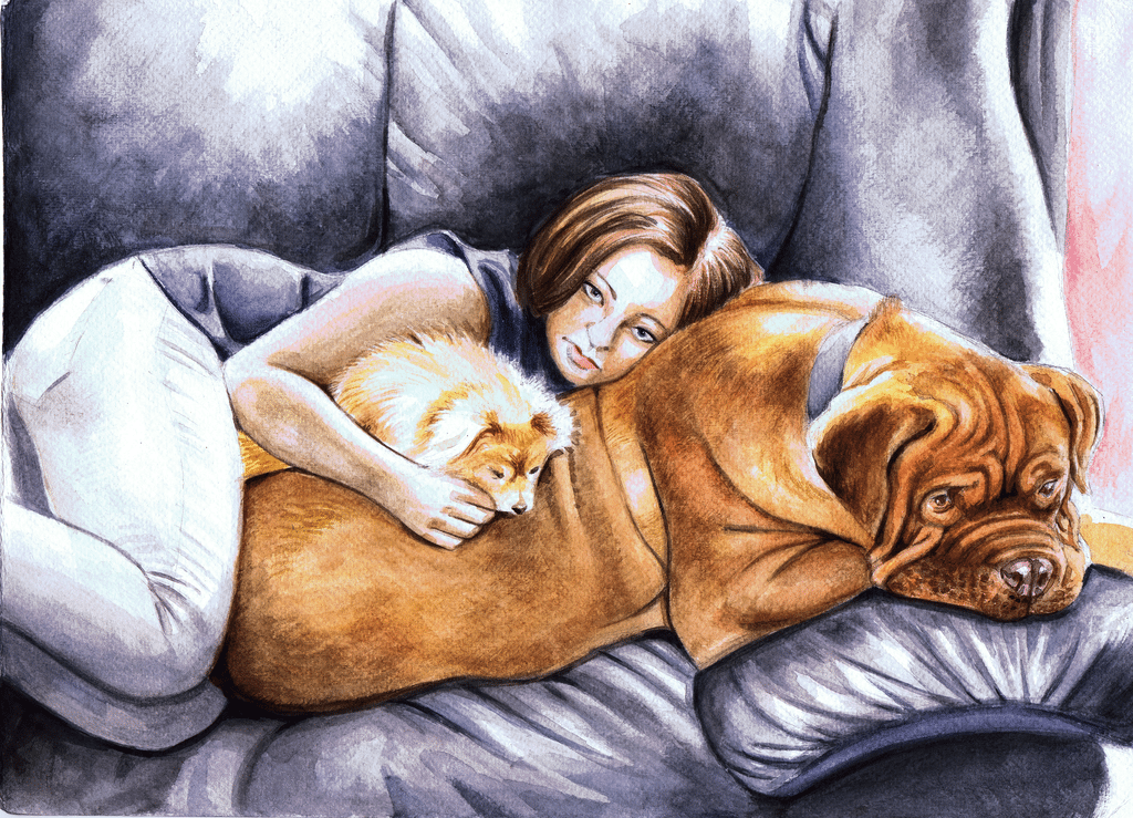 Girl and Dogs by BenDX