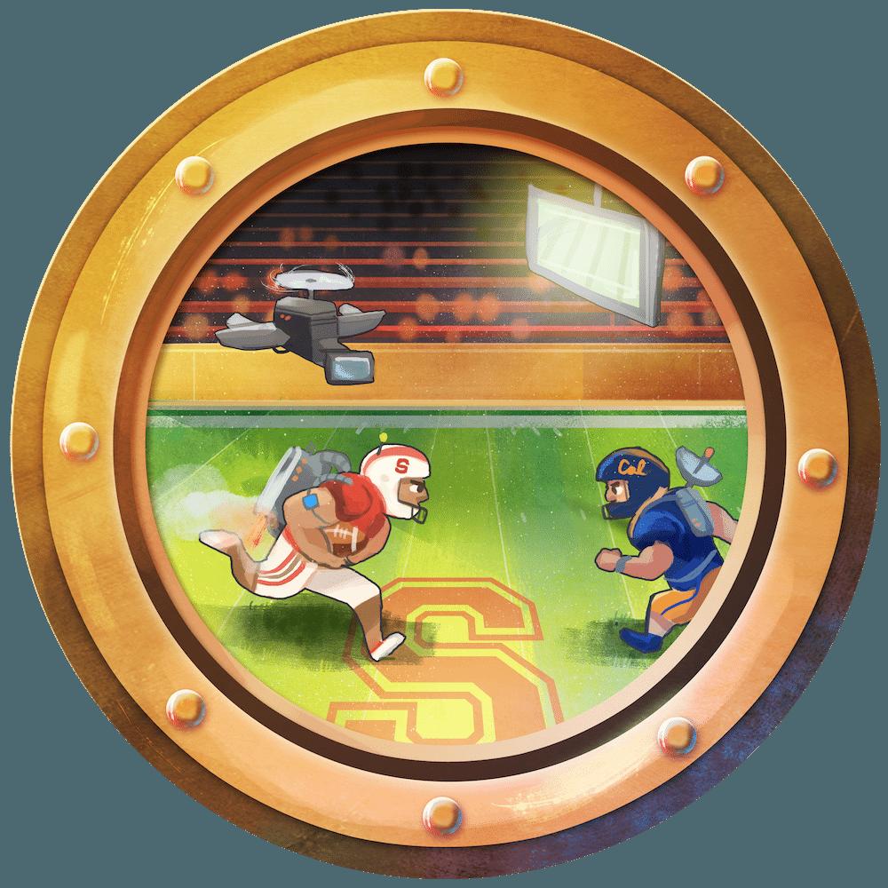 High Tech Football Porthole by Louie Zong via ArtCorgi