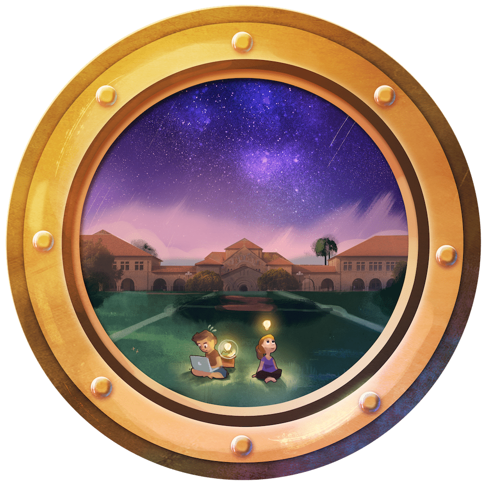 Inventing on Stanford Oval Porthole by Louie Zong via ArtCorgi