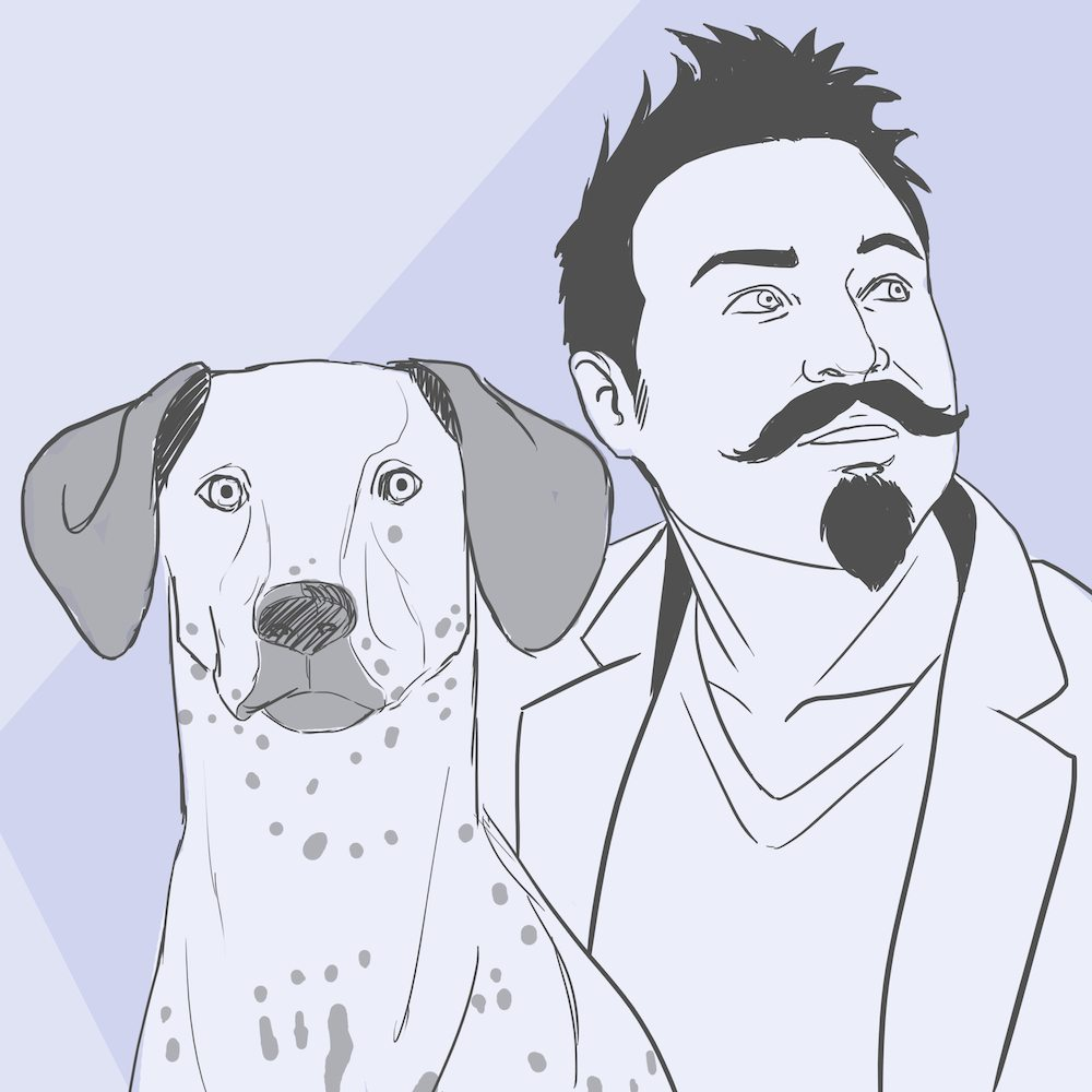 Jeremy and His Dog WIP Portriat by Blacksmiley