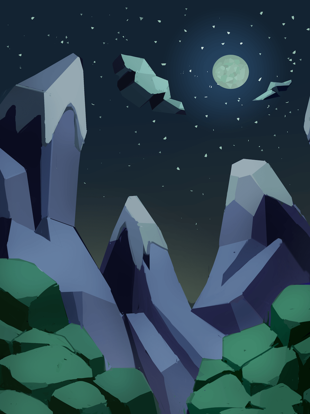 Low Poly Inspired Landscape Painting by Mourphine via ArtCorgi
