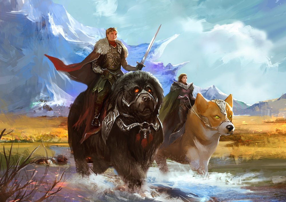 Painting of Warriors Riding Giant Dogs Across the Landscape by Bloodyman88 via ArtCorgi