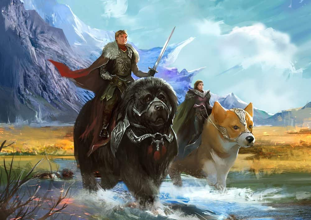 Painting of Warriors Riding War Dogs Across the Landscape by Bloodyman88 via ArtCorgi