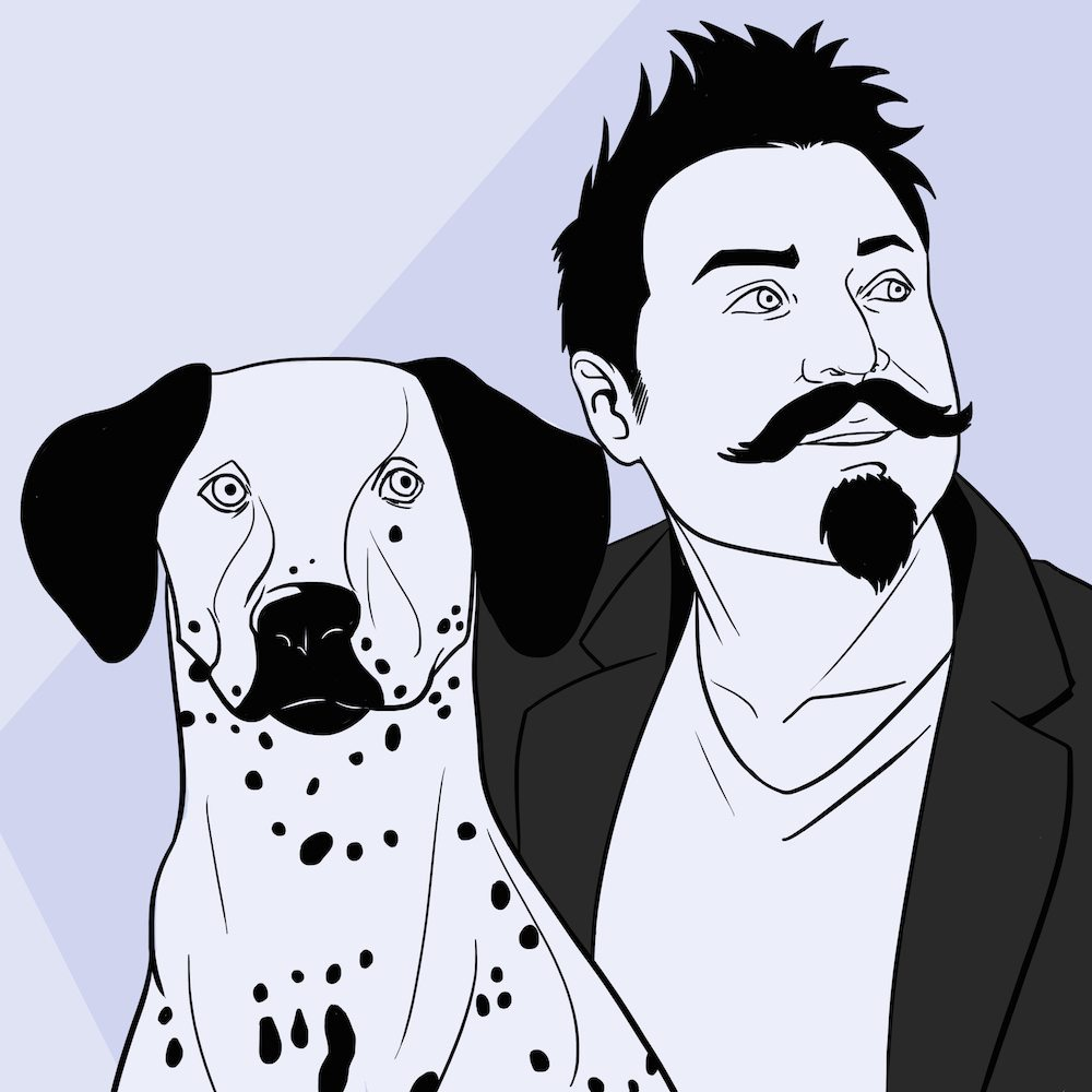 Patrick Nagal Inspired Portrait of Jeremy and his Dog by Blacksmiley via ArtCorgi