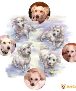 Dog portraits - Pet Portrait of Four Dogs by Feralkith Before and After via ArtCorgi