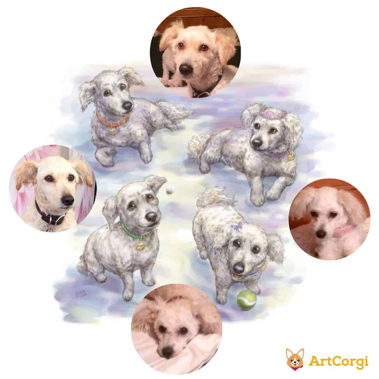 Pet Portrait of Four Dogs by Feralkith Before and After via ArtCorgi