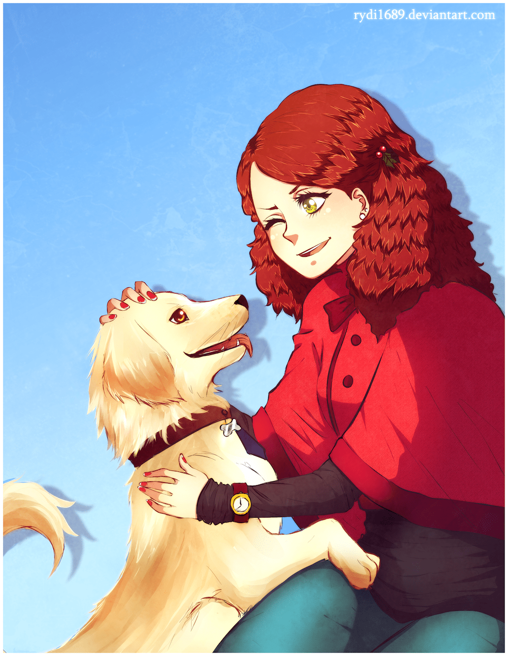 Portrait of Martha and her dog Krusty by Lucía García via ArtCorgi