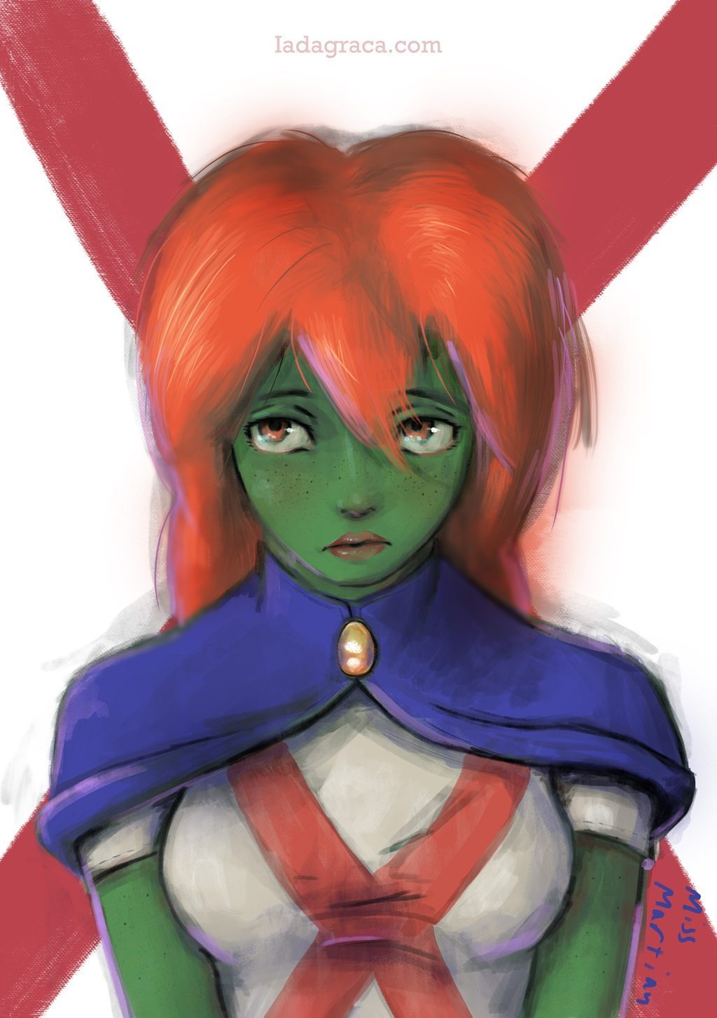 Portrait of Miss Martian by iadagraca