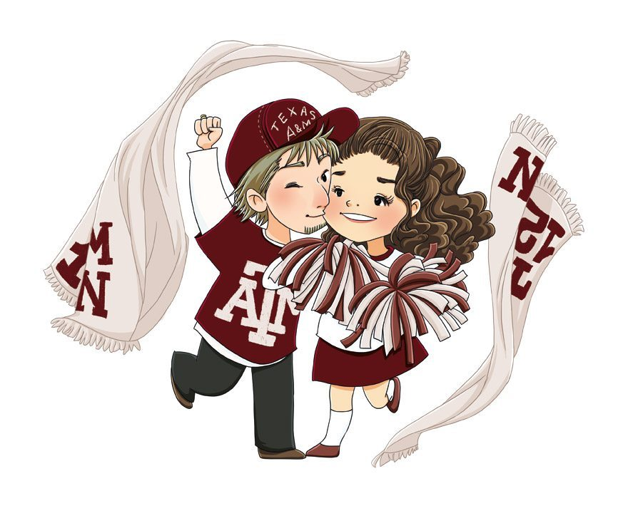 Portrait of a Couple from Texas A&M by Elisa Moriconi via ArtCorgi