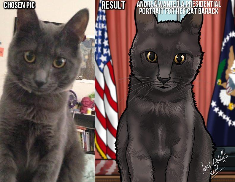Presidential Cat Portrait by Jordi Castells