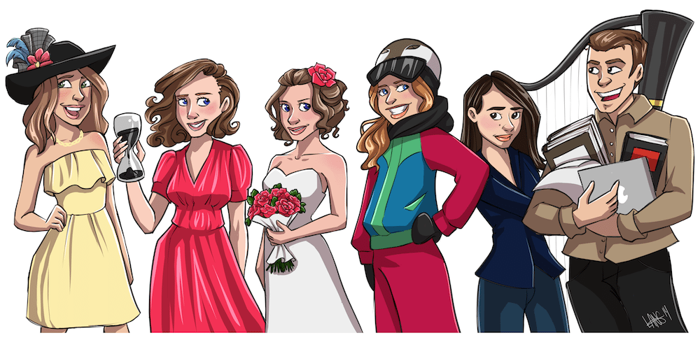Rachel and her Bridal Party by Windmyll via ArtCorgi