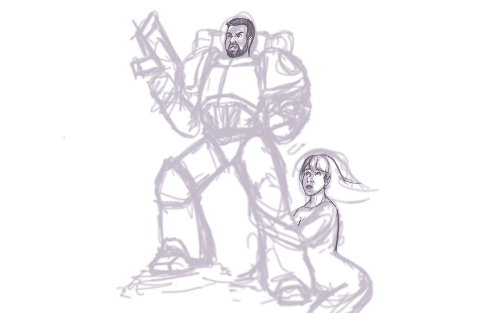 Sketch of the Space Marine and the Damsel by Knifoon