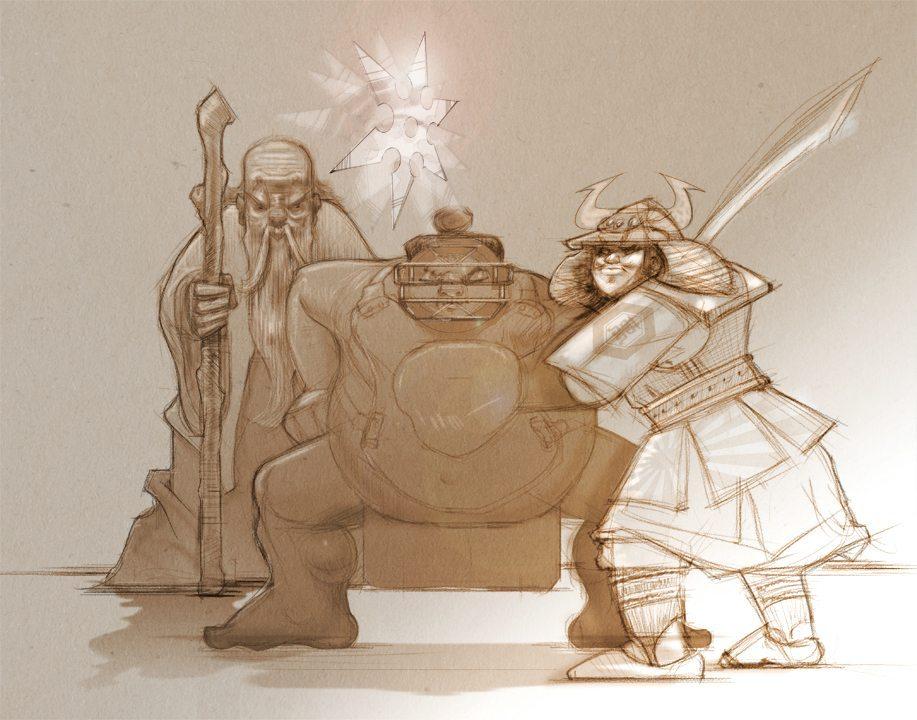 Two Toned Samurai Illustration by Gilbert Garlitos