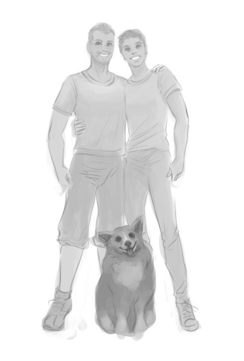 WIP Portrait of Ben Michael and Toby by Nell Fallcard