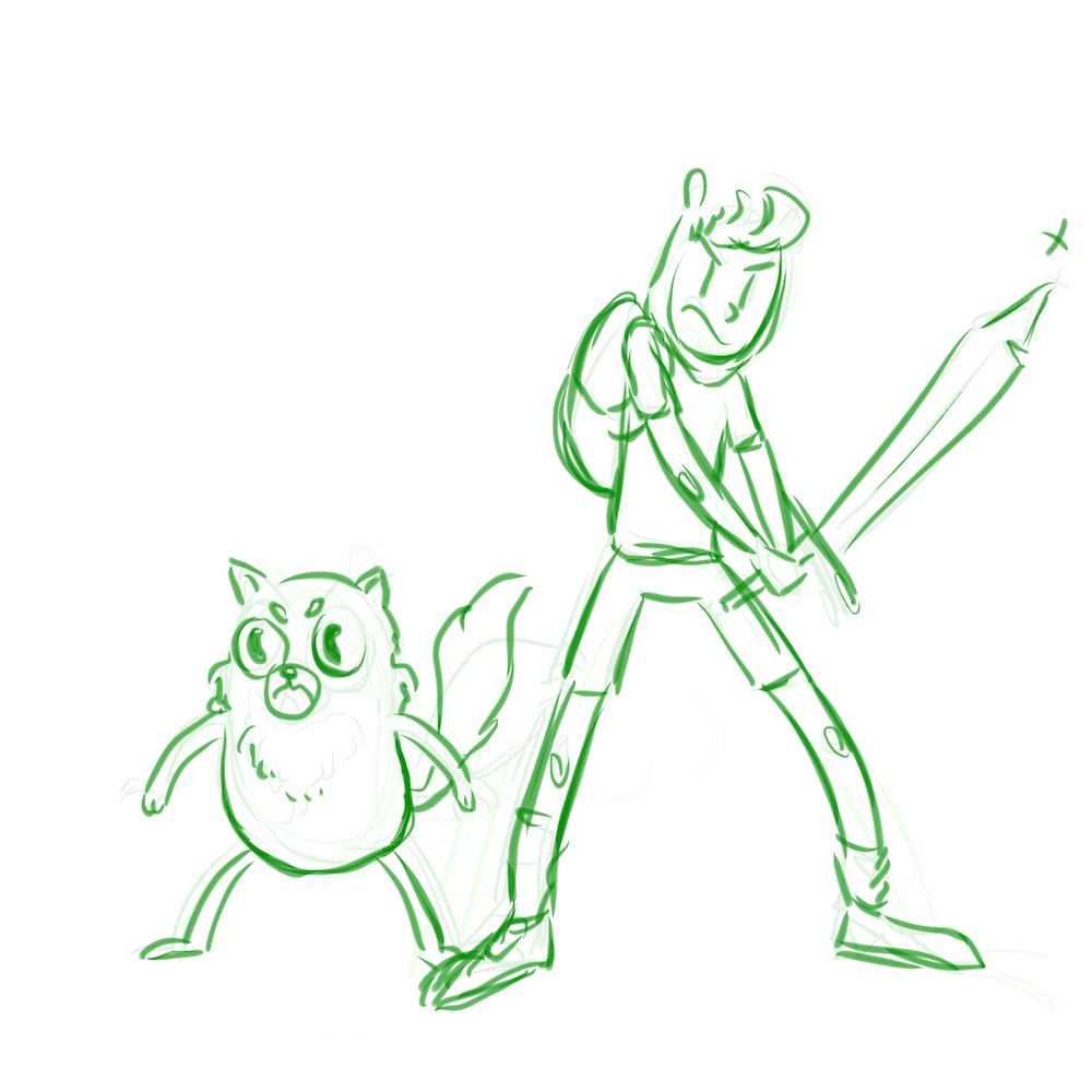 WIP Sketch of JD and Gabriel by Skitsskat