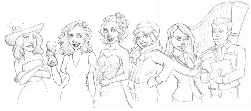 WIP Sketch of Rachel and her Bridal Party by Windmyll