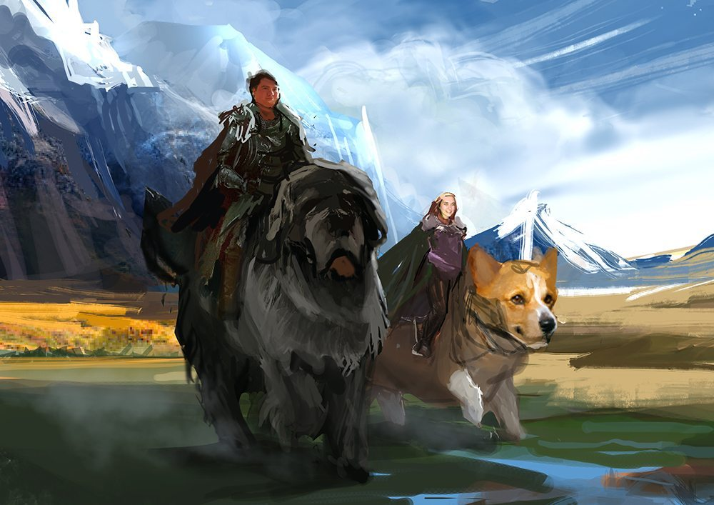 WIP of Couple Riding Dogs into Battle by Bloodyman88
