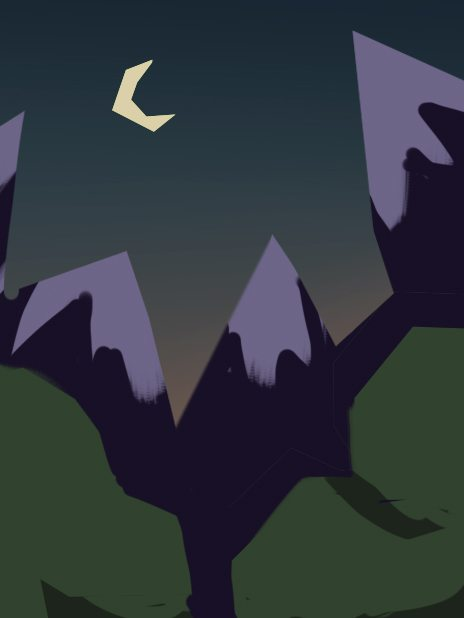 WIP of Low Poly Mountainside at Night by Mourphine