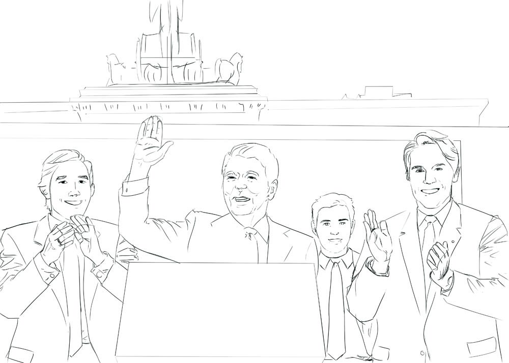 WIP of Reagan and the Guys by Stephanie Campbell