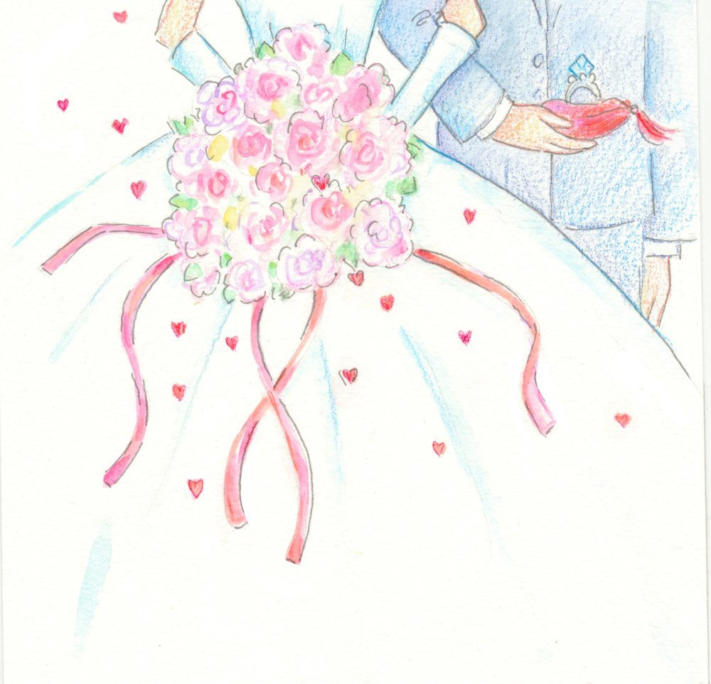 Bride and Groom Illustration by Tina Cash-Walsh