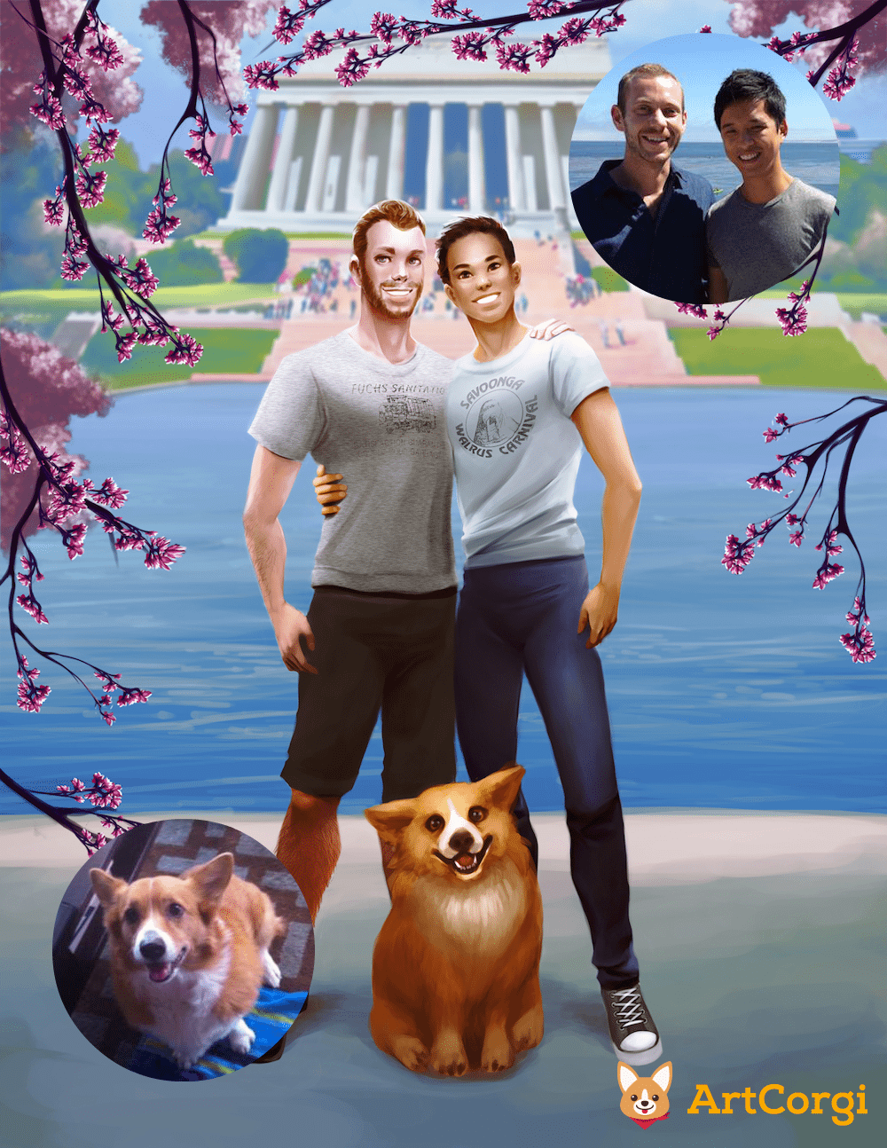 DC Couple Portrait by Nell Fallcard via ArtCorgi Before and After