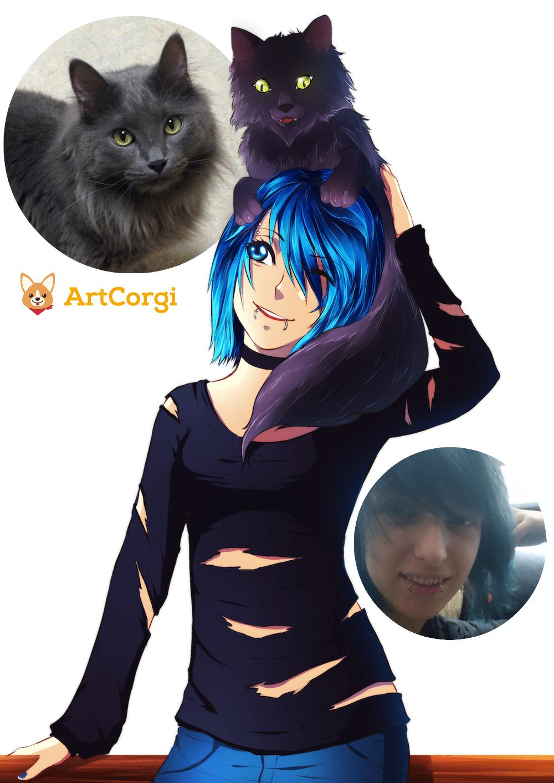 Larissa by Lucía García via ArtCorgi Before and After