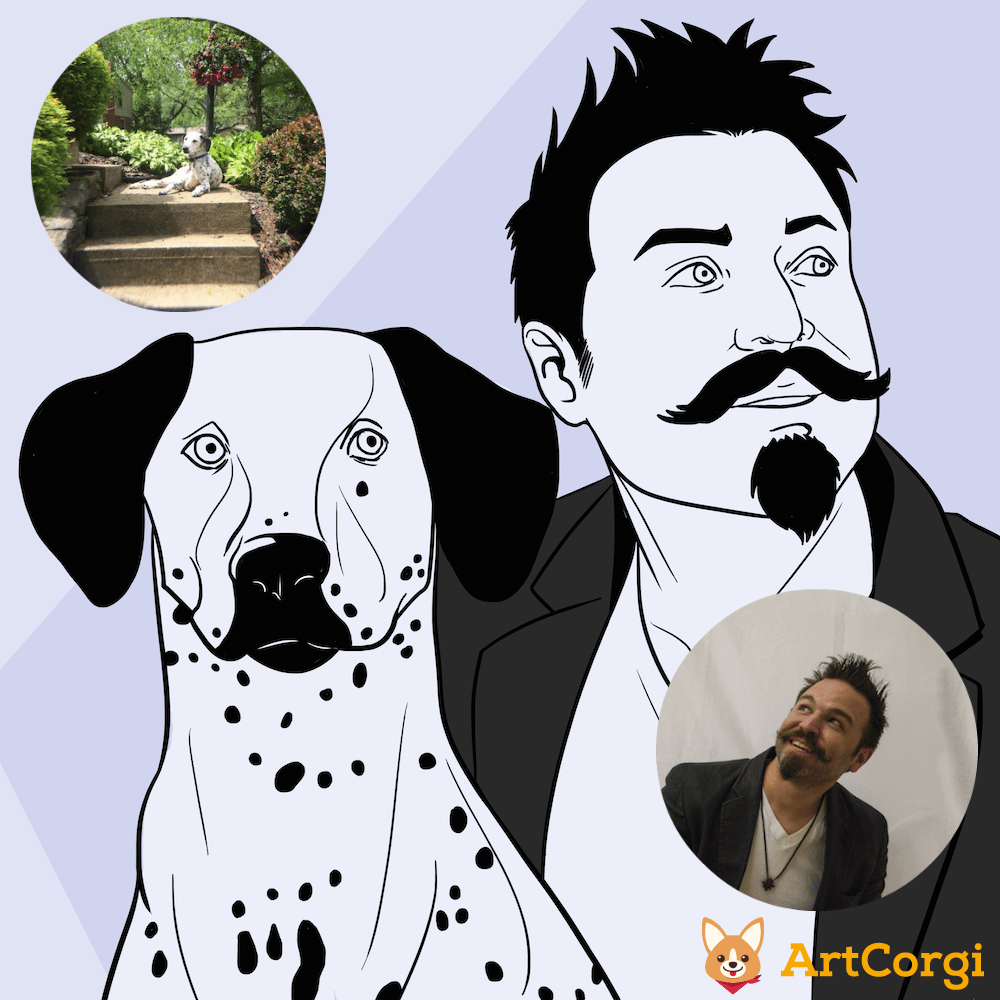 Man and Dog Portrait by Blacksmiley via ArtCorgi Before and After