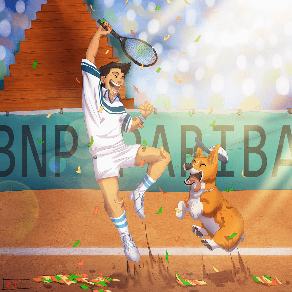 Michael Mercado Victorious at the French Open by Denitsa Trandeva via ArtCorgi