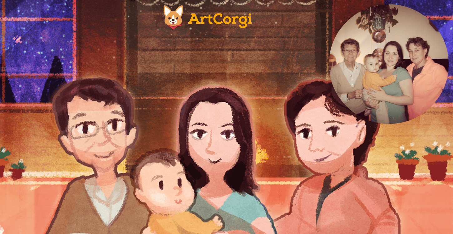 Michelle Gilbert Family by Louie Zong Before and After - ArtCorgi