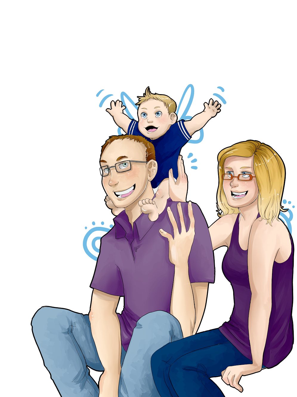 Portrait of the Klawuhn family by AruRmz via ArtCorgi - Blue Detail