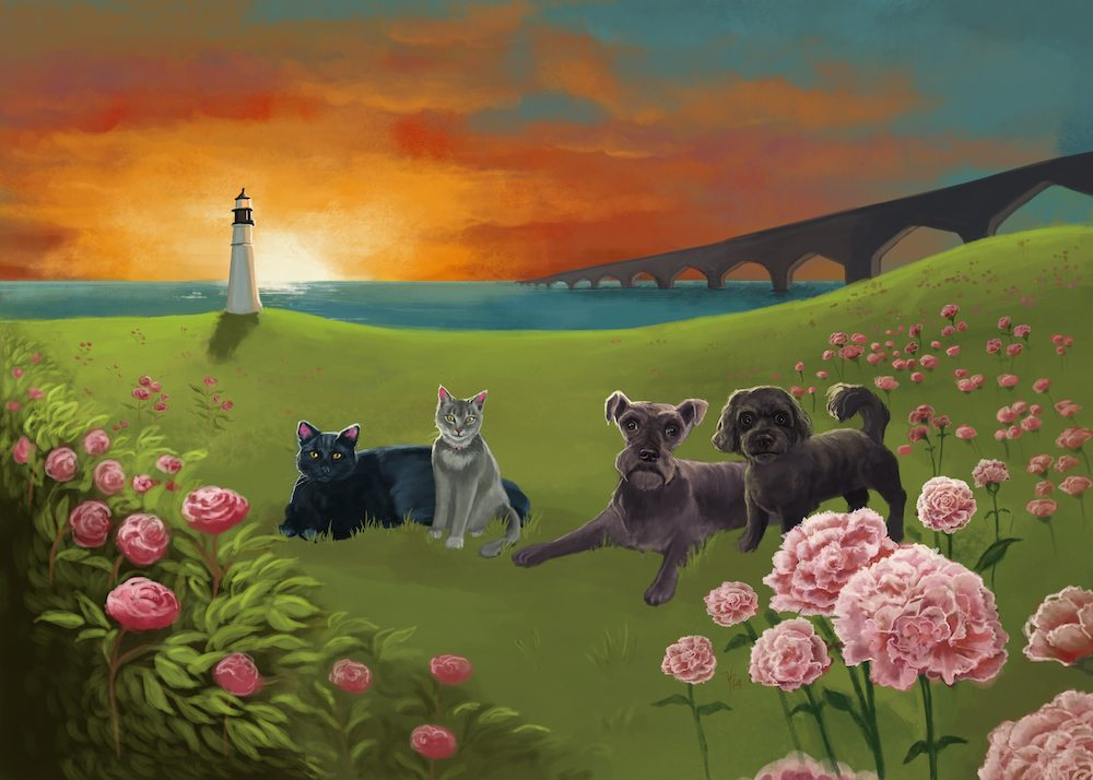 Sunset by the Lighthouse Pet Portrait by Studio Catawampus via ArtCorgi