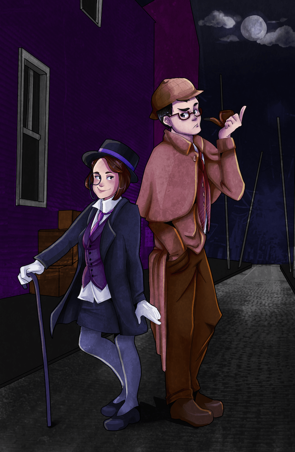 The Detective Couple by AruRmz via ArtCorgi