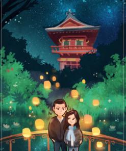 The Romantic Tea Garden Anniversary Portrait by Louie Zong via ArtCorgi