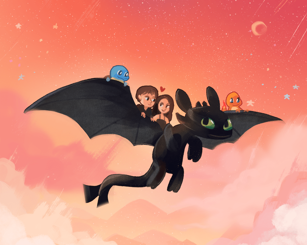 Toothless Takes the Gang for a Ride by Louie Zong via ArtCorgi
