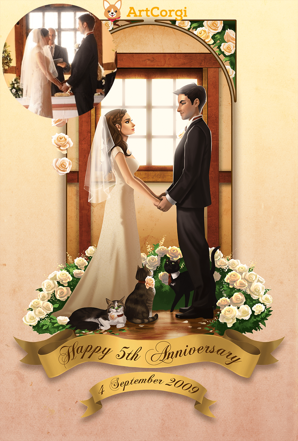 Vicky at her wedding by Angeline Roussel via ArtCorgi Before and After